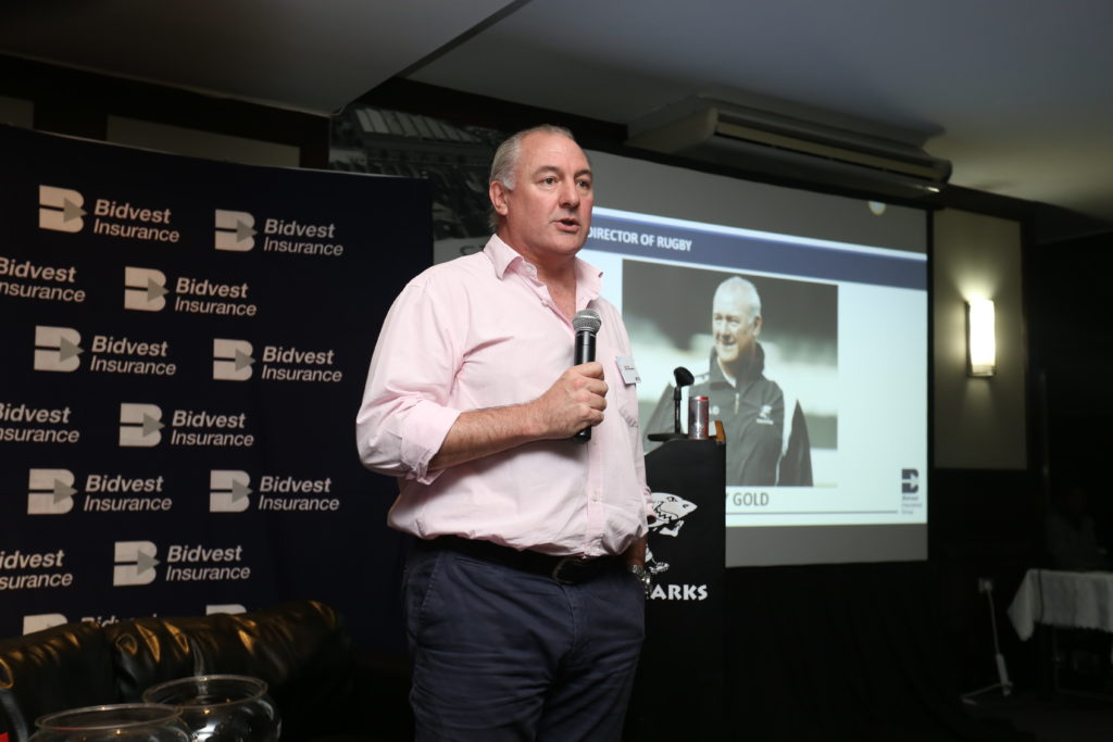Gary Gold giving his speech and thanking Bidvest Insurance
